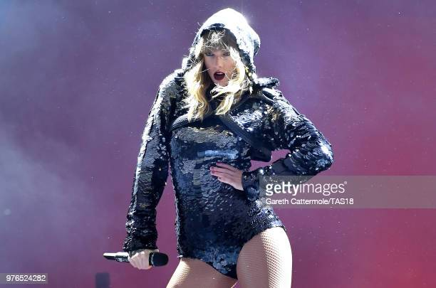 Taylor Swift performs on stage during her reputation Stadium Tour at Croke Park on June 16, 2018 in Dublin, Ireland.