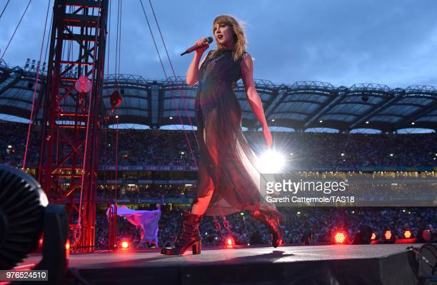 Taylor Swift performs on stage during her reputation Stadium Tour at Croke Park on June 16 2018 in Dublin Ireland