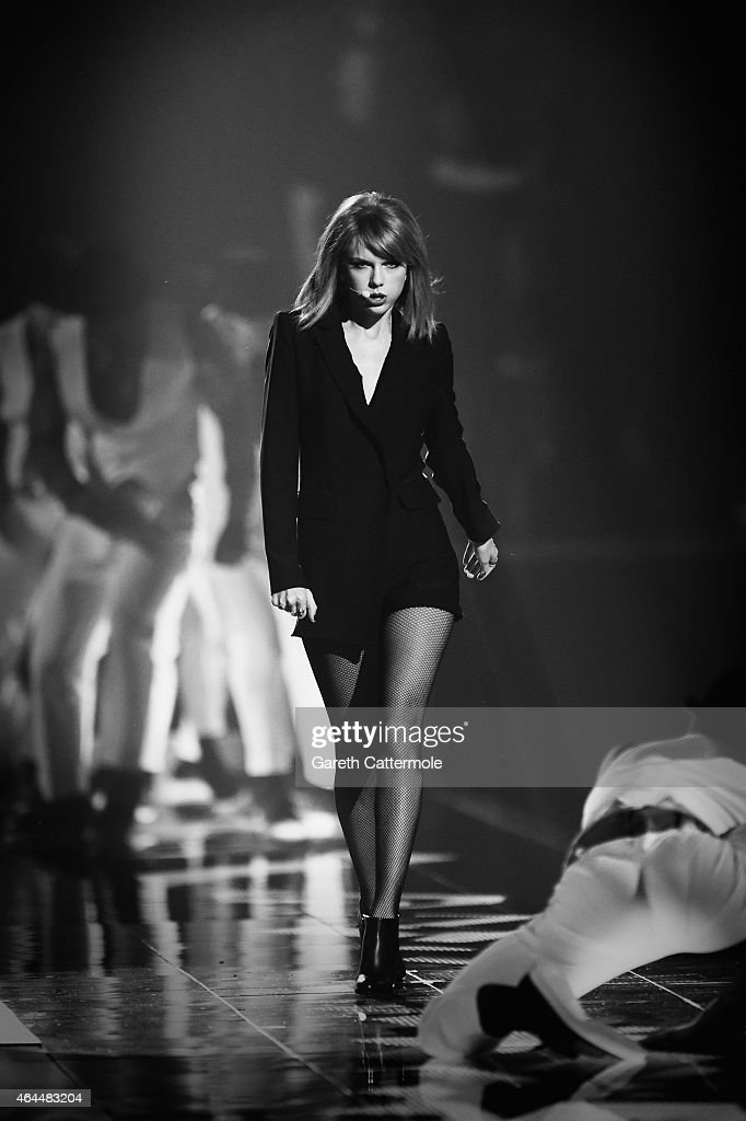 Taylor Swift performs on stage during the BRIT Awards 2015 at The O2 Arena on February 25, 2015 in London, England.