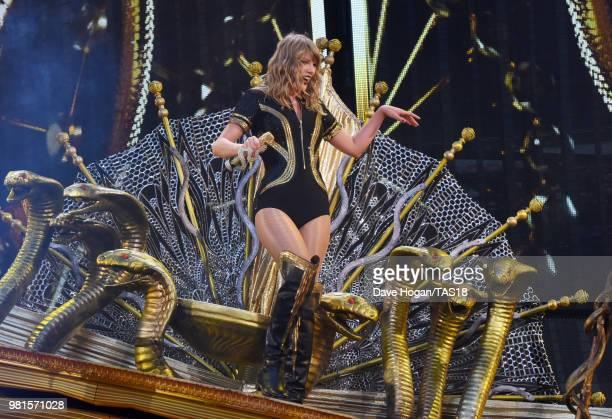 Taylor Swift performs on stage during the first night of the London leg of her reputation Stadium Tour at Wembley Stadium on June 22 2018 in London...