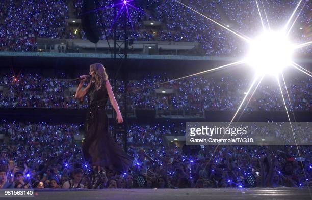 Taylor Swift performs on stage during the reputation Stadium Tour at Wembley Stadium on June 22 2018 in London England