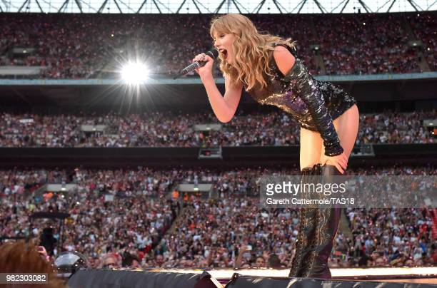 Taylor Swift performs on stage during the reputation Stadium Tour at Wembley Stadium on June 23 2018 in London England