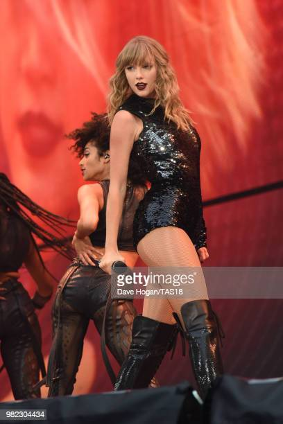 Taylor Swift performs on stage during the second date of the Taylor Swift reputation Stadium Tour at Wembley Stadium on June 23 2018 in London England