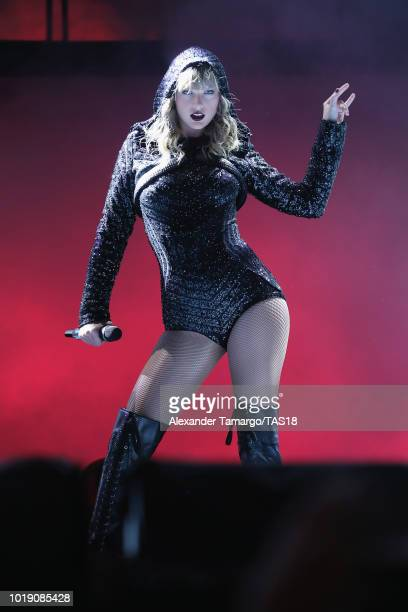 Taylor Swift performs on stage during the Taylor Swift reputation Stadium Tour at Hard Rock Stadium on August 18 2018 in Miami Florida
