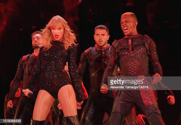 Taylor Swift performs on stage during the Taylor Swift reputation Stadium Tour at Hard Rock Stadium on August 18, 2018 in Miami, Florida.