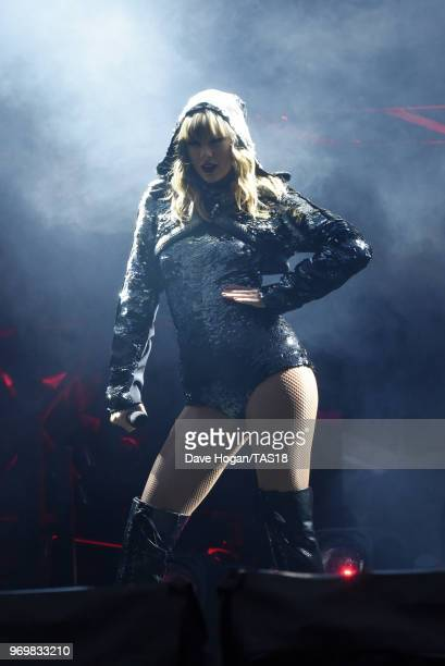 Taylor Swift performs on stage during the Taylor Swift reputation Stadium Tour at Etihad Stadium on June 8 2018 in Manchester England