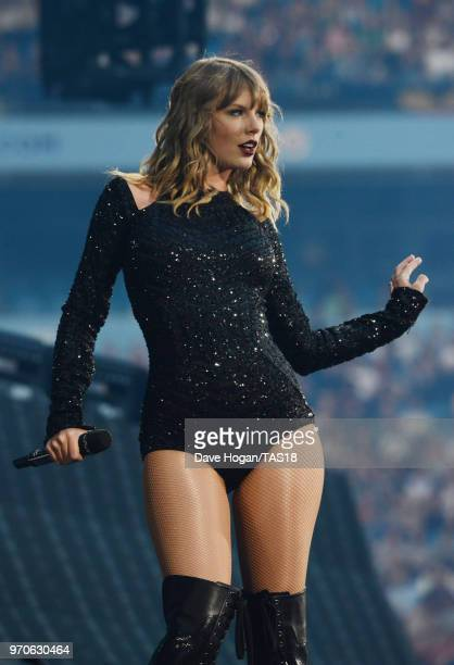 Taylor Swift performs on stage during the Taylor Swift reputation Stadium Tour at Etihad Stadium on June 9 2018 in Manchester England