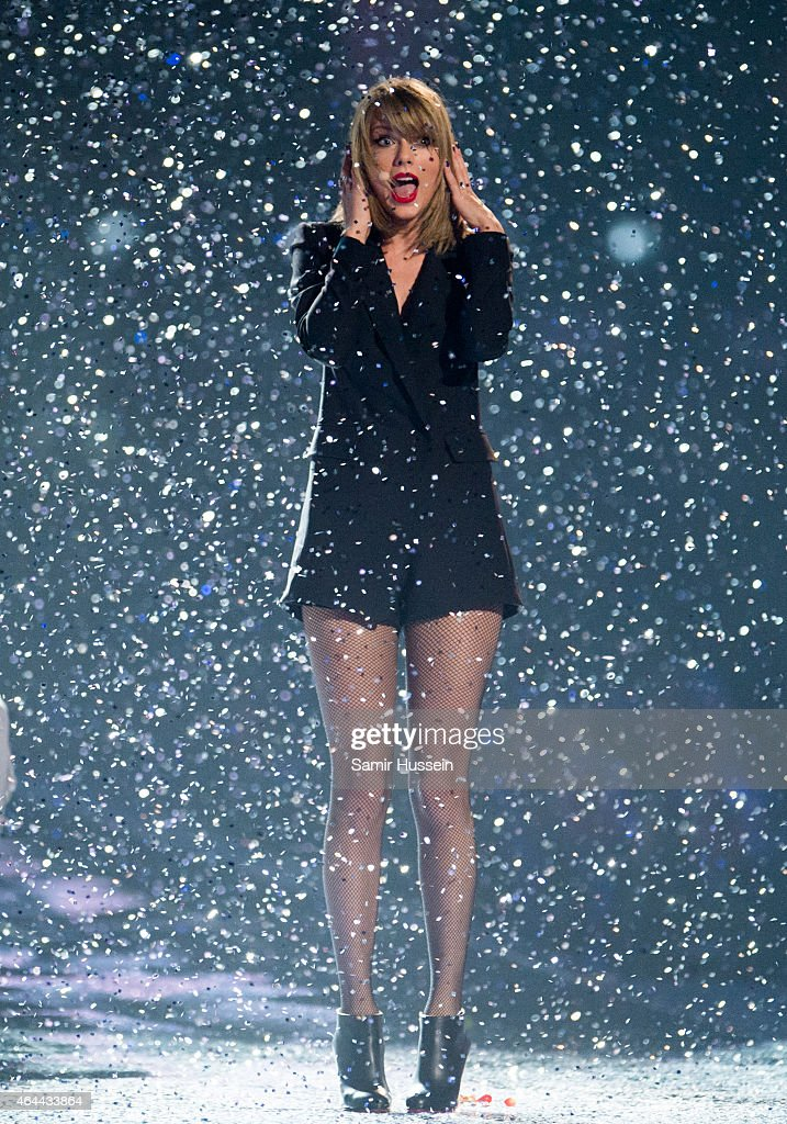 Taylor Swift performs on stage for the BRIT Awards 2015 at The O2 Arena on February 25, 2015 in London, United Kingdom