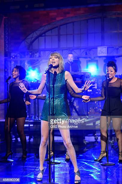 Taylor Swift performs on the Late Show With David Letterman October 28 2014