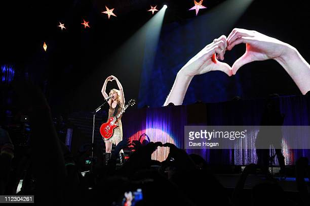 Taylor Swift performs on the opening night of her Speak Now tour at the LG Arena on March 23 2011 in Birmingham England
