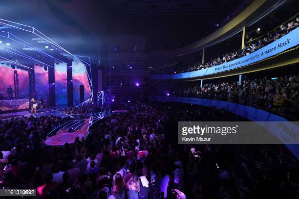 Taylor Swift performs onstage as Taylor Swift, Dua Lipa, SZA and Becky G perform at The Prime Day concert, presented by Amazon Music at on July 10,...