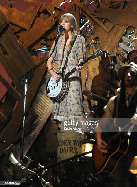 Taylor Swift performs onstage at The 54th Annual GRAMMY Awards at Staples Center on February 12, 2012 in Los Angeles, California.