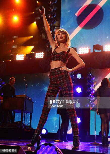 Taylor Swift performs onstage during iHeartRadio Jingle Ball 2014 hosted by Z100 New York and presented by Goldfish Puffs at Madison Square Garden on...