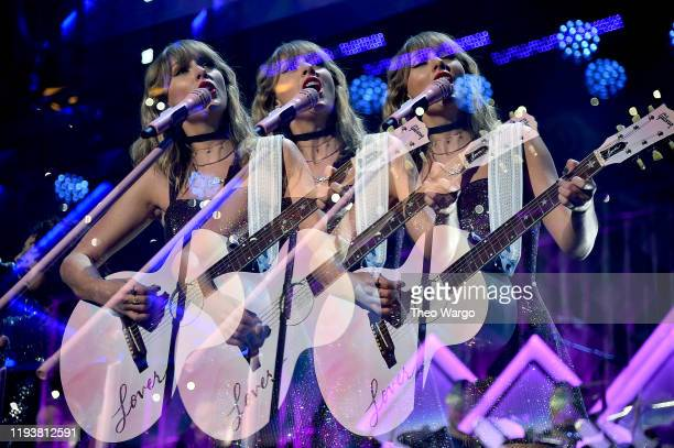 Image was created using multiple exposure in camera Taylor Swift performs onstage during iHeartRadio's Z100 Jingle Ball 2019 Presented By Capital One...