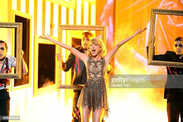 Taylor Swift performs onstage during the 2014 American Music Awards held at Nokia Theatre LA Live on November 23 2014 in Los Angeles California