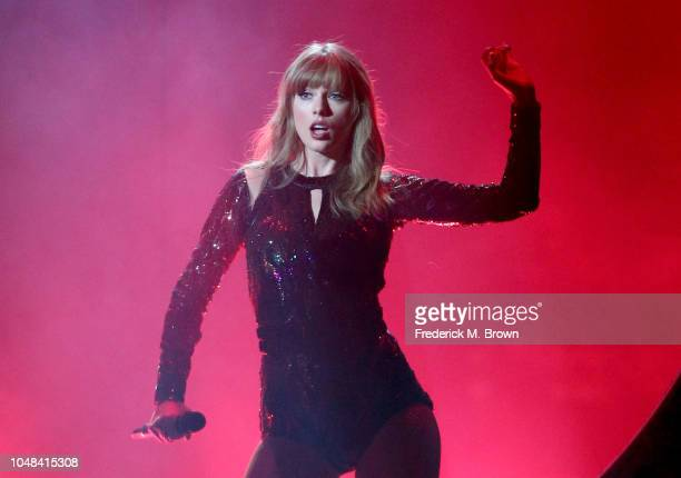 Taylor Swift performs onstage during the 2018 American Music Awards at Microsoft Theater on October 9 2018 in Los Angeles California