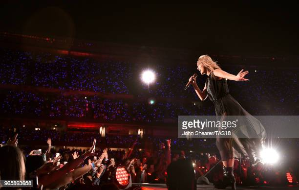 Taylor Swift performs onstage during the 2018 reputation Stadium Tour at Soldier Field on June 1 2018 in Chicago Illinois