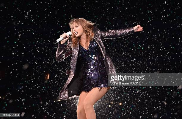 Taylor Swift performs onstage during the 2018 reputation Stadium Tour at Soldier Field on June 2 2018 in Chicago Illinois