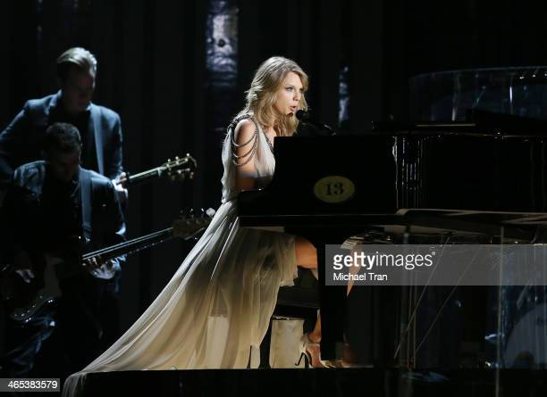 Taylor Swift performs onstage during the 56th GRAMMY Awards held at Staples Center on January 26 2014 in Los Angeles California