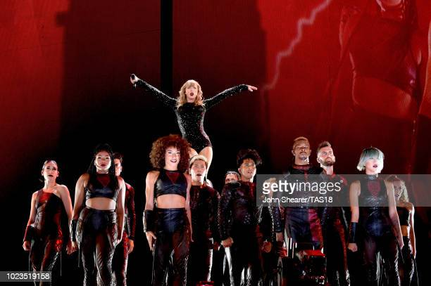 Taylor Swift performs onstage during the reputation Stadium Tour at Nissan Stadium on August 25 2018 in Nashville Tennessee