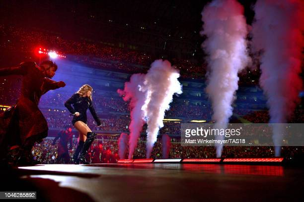 Taylor Swift performs onstage during the reputation Stadium Tour at ATT Stadium on October 5 2018 in Arlington Texas