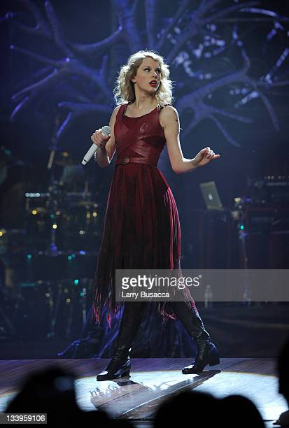 Taylor Swift performs onstage during the Speak Now World Tour at Madison Square Garden on November 22 2011 in New York City Taylor Swift wrapped up...