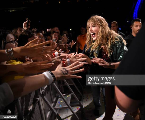 Taylor Swift performs onstage during the Taylor Swift reputation Stadium Tour at MetLife Stadium on July 20 2018 in East Rutherford New Jersey