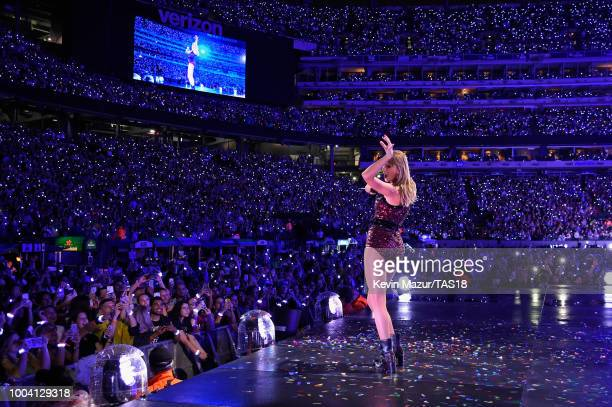 Taylor Swift performs onstage during the Taylor Swift reputation Stadium Tour at MetLife Stadium on July 22, 2018 in East Rutherford, New Jersey.