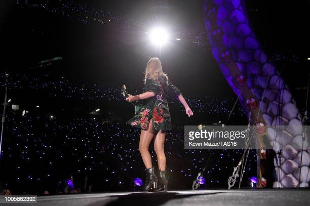 Taylor Swift performs onstage during the Taylor Swift reputation Stadium Tour at Gillette Stadium on July 26 2018 in Foxborough Massachusetts
