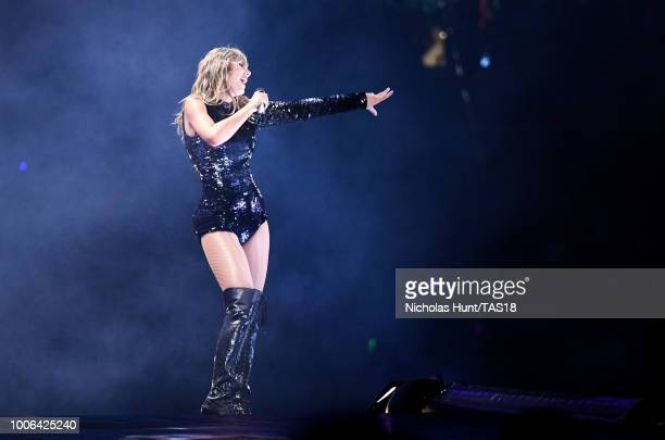 Taylor Swift performs onstage during the Taylor Swift reputation Stadium Tour at Gillette Stadium on July 27 2018 in Foxborough Massachusetts