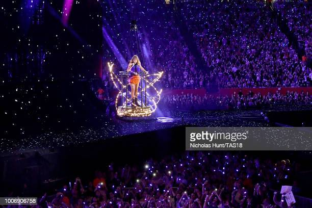 Taylor Swift performs onstage during the Taylor Swift reputation Stadium Tour at Gillette Stadium on July 28 2018 in Foxborough Massachusetts