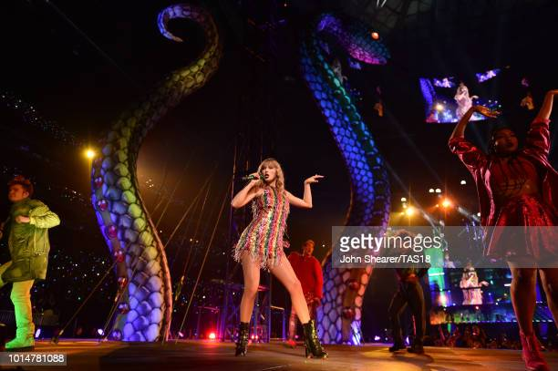 Taylor Swift performs onstage during the Taylor Swift reputation Stadium Tour at MercedesBenz Stadium on August 10 2018 in Atlanta Georgia
