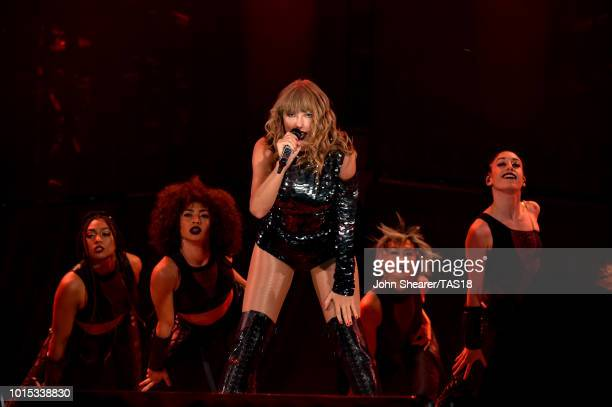 Taylor Swift performs onstage during the Taylor Swift reputation Stadium Tour at Mercedes-Benz Stadium on August 11, 2018 in Atlanta, Georgia.