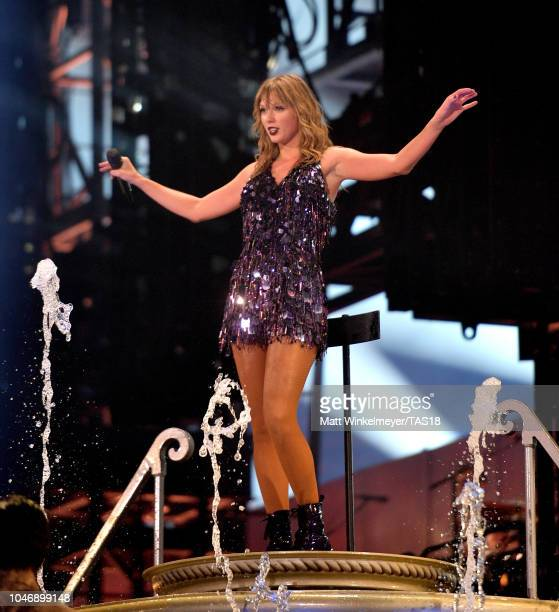 Taylor Swift performs onstage during the Taylor Swift reputation Stadium Tour at ATT Stadium on October 6 2018 in Arlington Texas