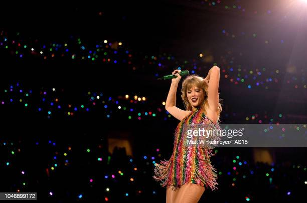 Taylor Swift performs onstage during the Taylor Swift reputation Stadium Tour at ATT Stadium on October 6 2018 in Arlington Texas