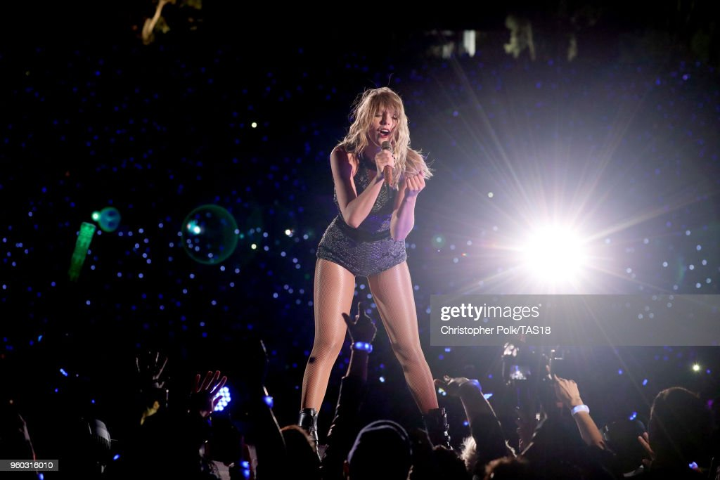 Taylor Swift performs onstage during the Taylor Swift reputation Stadium Tour at the Rose Bowl on May 19, 2018 in Pasadena, California