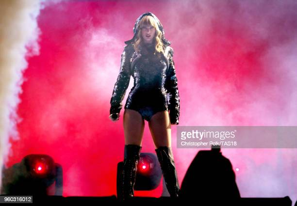 Taylor Swift performs onstage during the Taylor Swift reputation Stadium Tour at the Rose Bowl on May 19 2018 in Pasadena California