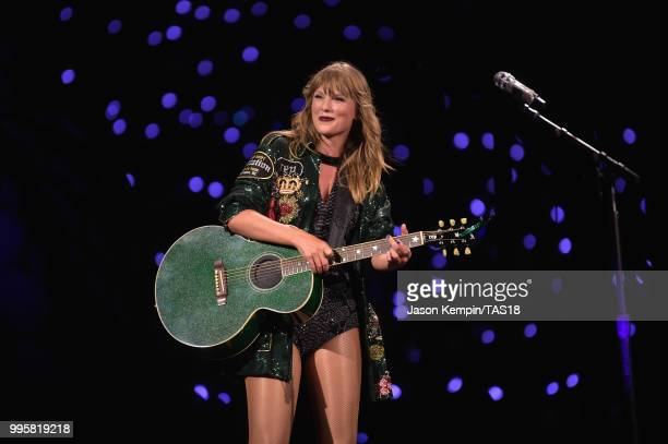 Taylor Swift performs onstage during the Taylor Swift reputation Stadium Tour at FedExField on July 10 2018 in Landover Maryland