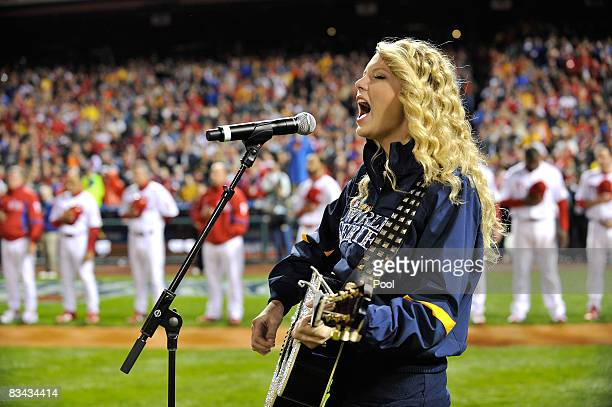 Taylor Swift performs the national anthem before the Philadelphia Phillies take on the Tampa Bay Rays in game three of the 2008 MLB World Series on...