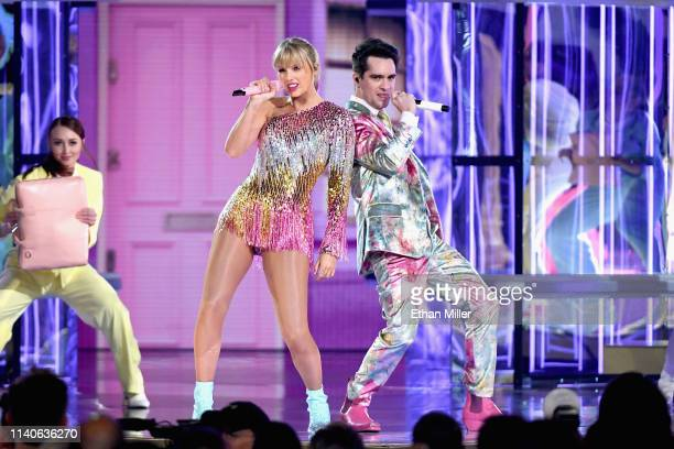 Taylor Swift performs with Brendon Urie of Panic at the Disco onstage during the 2019 Billboard Music Awards at MGM Grand Garden Arena on May 1 2019...
