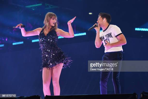 Taylor Swift performs with Niall Horan on stage during the first night of the London leg of her reputation Stadium Tour at Wembley Stadium on June 22...