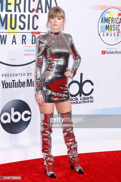 Taylor Swift photographed on the red carpet of the 2018 American Music Awards at the Microsoft Theater on October 9 2018 in Los Angeles USA
