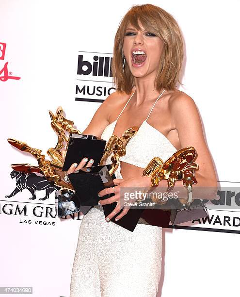 Taylor Swift poses at the 2015 Billboard Music Awards at MGM Garden Arena on May 17 2015 in Las Vegas Nevada