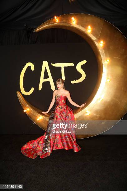 "Taylor Swift poses at the World Premiere of the new film ""Cats"" based on the Andrew Lloyd Webber musical at Alice Tully Hall, Lincoln Center on..."