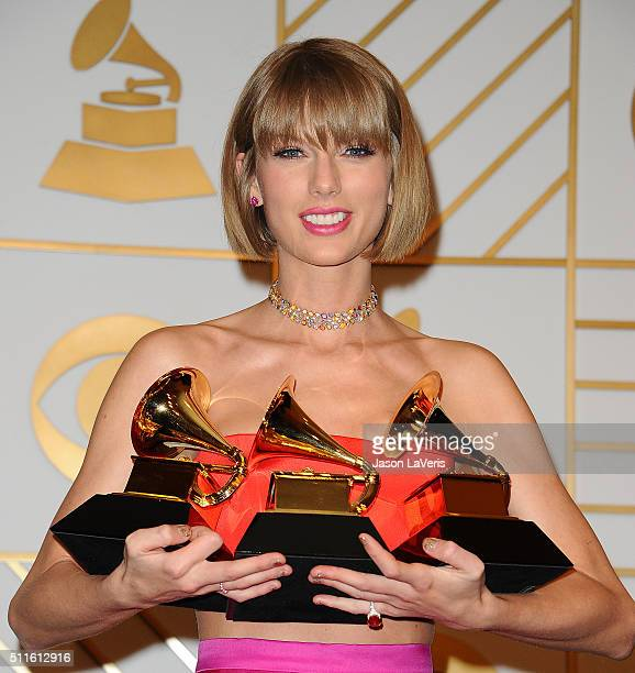 Taylor Swift poses in the press room at the The 58th GRAMMY Awards at Staples Center on February 15 2016 in Los Angeles California