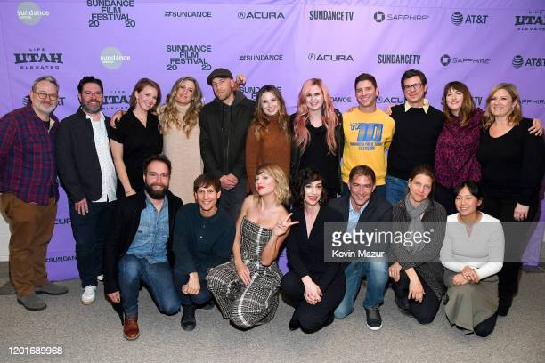 Taylor Swift poses with the crew of Miss Americana during the Netflix premiere of Miss Americana at Sundance Film Festival on January 23 2020 in Park...