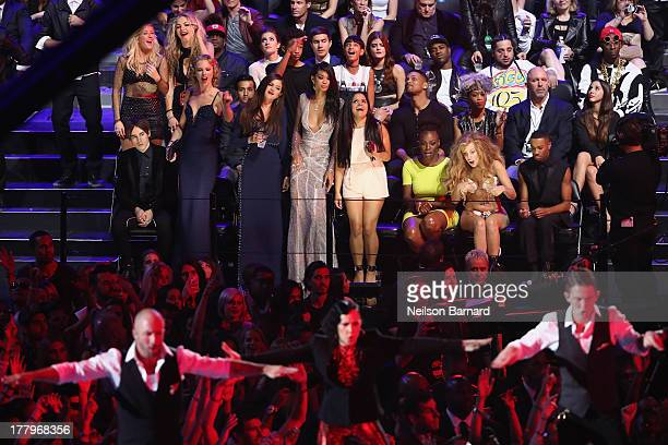 Taylor Swift Selena Gomez Chanel Iman and Lady Gaga sit front row at the 2013 MTV Video Music Awards at the Barclays Center on August 25 2013 in the...