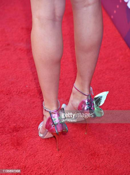 Taylor Swift shoe detail attends the 2019 iHeartRadio Music Awards which broadcasted live on FOX at Microsoft Theater on March 14 2019 in Los Angeles...