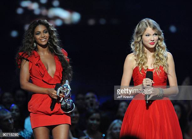 Taylor Swift speaks after Beyonce allowed her to finish her speech that was cut short by Kanye West after Beyonce won Best Video of the Year onstage...