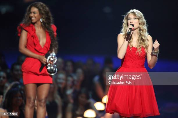 Taylor Swift speaks after Beyonce allowed her to finish her speech that was cut short by Kanye West after Beyonce won Best Video of the Year during...